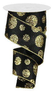 "2.5""X10YD GIANT POLKA DOTS Black /  Gold RGA130686"