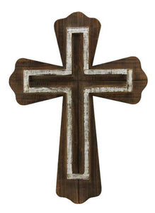 "21""H X 15""L 2 Layer Wooden Cross White/Dark Natural AW9574"