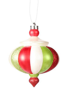"7""L Finial Ornament Lime/Red/White Mica/Pearl XY4823JG"