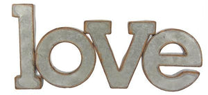 "18.5""L X 8.5""H ""Love"" Wall Plaque Galvanized Rust Am0086 - DecoExchange"