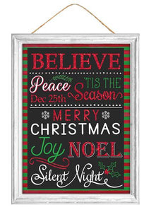 "16""H X 12""L Glitter Christmas Words Sign Black/Red/Green/White AP8818 - DecoExchange"