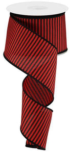 "2.5""X10Yd Horizontal Thin Stripes On Pg Red/Black RGC119424 - DecoExchange"