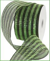 "4""X25YD WIDE FOIL STRIPE Green/Black Mesh Ribbon RR4063JK"