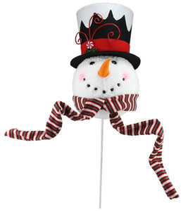 "13.5""H Snowman Head Tree Topper W/Pick White/Black/Red XN5948 - DecoExchange"