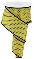 "2.5""X10yd Raised Swiss Dots On Royal Yellow/Black RG01686AN"