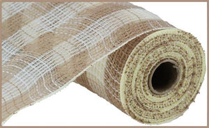 "10.5""X10Yd Faux Jute/Pp Small Check Natural/Cream RY832054"
