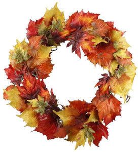 "30""Dia Grape/Maple Leaf/Curl Wreath Autumn HA1345 - DecoExchange"