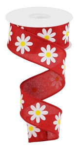 "1.5""X10Yd Daisy On Royal Red/White/Yellow RGC130924 - DecoExchange"