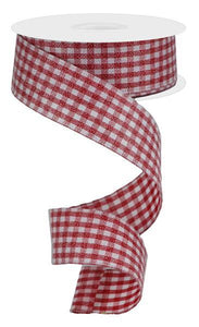 "1.5""X10Yd Glitter On Woven Gingham Check Red/White RGA179624"