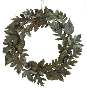 "20""Dia Mixed Metal Leaf Wreath Aged Brass Patina HA141045 - DecoExchange"