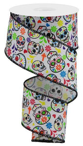 "2.5""X10Yd Day Of The Dead On Royal White/Mulit RGA146727 - DecoExchange"