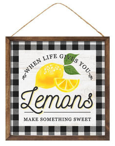 "10""Sq Life/Lemons Sign Black/Yellow/White AP8757 - DecoExchange"