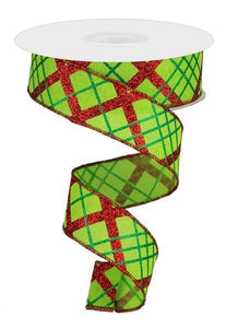 "1.5""X10Yd Glitter Diagonal Plaid/Royal Lime/Red/Emerald RGA1222WY - DecoExchange"