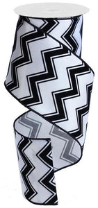 "4""X10Yd Flocked Chevron White/Black RG1089"