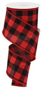 "2.5""X10yd Striped Check On Royal Red/Black RG01806MA - DecoExchange"
