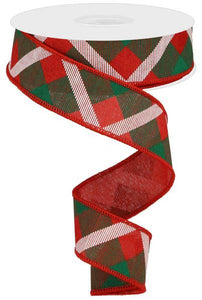 "1.5""X10Yd Printed Plaid On Royal Red/Green/White RG0168274 - DecoExchange"