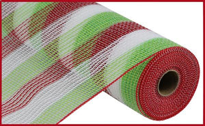 "10.5""X10Yd Pp/Faux Jute Small Stripe Red/Lime/White RY8321D7 - DecoExchange"