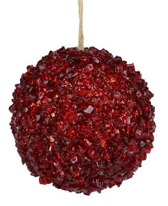 "4.25""Dia Icy Ball Ornament Red XY9411 - DecoExchange"