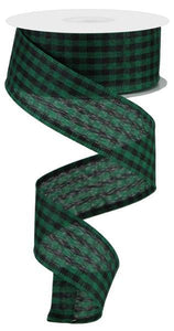 "1.5""X10Yd Gingham Check Emerald Green/Black RGA101206 - DecoExchange"