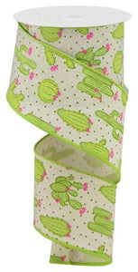 "2.5""X10Yd Cactus On Royal Cream/Lt Grn/Pink/Yllw RGA1638C2 - DecoExchange"
