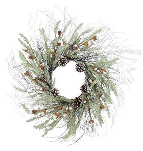 "27""Dia Baby Cotton/Pinecone Twig/Wreath Natural/Wintergreen XX2324 - DecoExchange"
