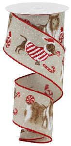 "2.5""X10Yd Christmas Dogs Natural RX438118"