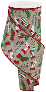 "4""X10Yd Christmas Stockings On Royal Natural/Red/Grn/Wht/Blk RGB126918 - DecoExchange"