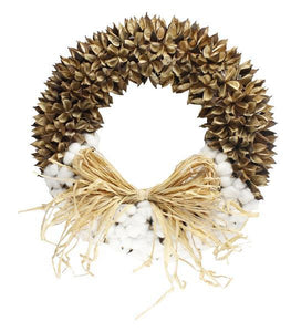 "19""DIA COTTON/COTTON POD WREATH NATURAL TW3090 - DecoExchange"