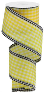 "2.5""X10Yd Gingham Check/Edge Yellow/White/Black RGA1716X7 - DecoExchange"