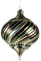 200MM SWIRL STRIPE ONION Woody Glitz Lime/Brown ornament XY2023TJ - DecoExchange