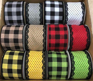 "2.5""X10Yd Swiss Dots/Plaid Assortment 12 Assorted RW8007 - DecoExchange"