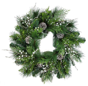 "24"" Juniper/Berries Mix Pine Wreath Tt Green/Whitewash Green XX8081 - DecoExchange"
