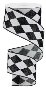 "2""X10Yd Glitter Harlequin Check White/Black RGA149927 - DecoExchange"