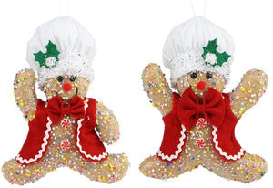 "2 Asst 9""H Icy Gingerbread Chef Orn Lt Brown/Red/White/Green XY9343 - DecoExchange"