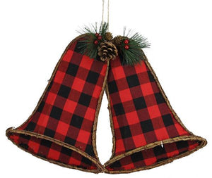 "20.75""W X 15""H Gingham/Euonymus Bell X 2 Red/Black XC429533 - DecoExchange"