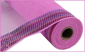 "10.5""X10Yd Border Stripe Metallic Mesh Pink/Lavender/Hot Pink RY8504H4"