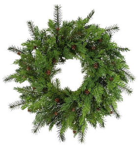 "24""Dia Mixed Cedar/Pinecone Wreath Tt Green XW2038 - DecoExchange"
