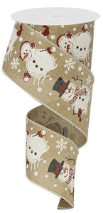 "2.5""X10Yd Snowman/Royal Light Beige/Multi RG0155101 - DecoExchange"