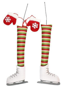 3Pc Ice Skater Decor Kit Green/Red/White XC6117