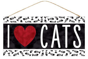 "12.5""L X 6""H I Heart Cats Sign Black/White/Red AP8718 - DecoExchange"