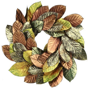 Warm Welcome Fall Wreath With Glitz and Glam Magnolia Leaves, Faux Autumn Leaf Wreath - DecoExchange