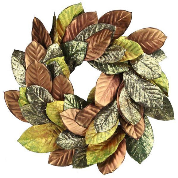 Warm Welcome Fall Wreath With Glitz and Glam Magnolia Leaves, Faux Autumn Leaf Wreath