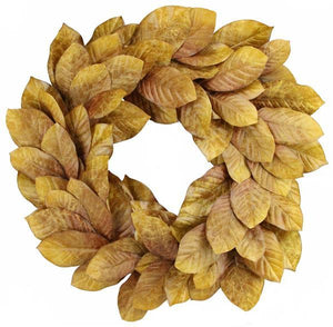 "30""Dia Magnolia Leaf Wreath Tt Brown NF2046 - DecoExchange"