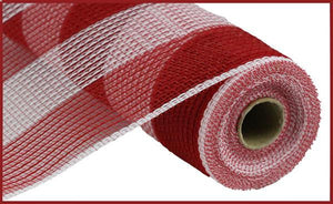 "10.5""X10Yd Faux Jute/Pp Wide Stripe Red/White RY831449 - DecoExchange"