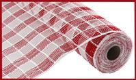 "10""X10YD METALLIC CHECK MESH Red/White RE1367N5"