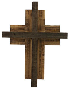 "17""H X 13""L 2 Layer Wooden Cross Dark Natural AW9572"