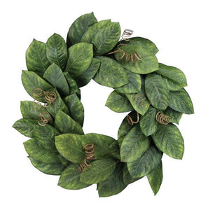 "24""Dia Magnolia Leaf/Curl Wreath Tt Green NF2023 - DecoExchange"