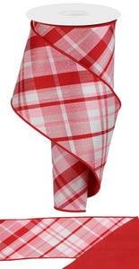 "4""X10Yd Diagonal Plaid/Pg Fused Back Lt Pnk/Red/White RGX0052DM - DecoExchange"