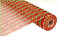 "21""X10YD THIN STRIPE MESH Red/Lime W/Red/Lime Foil RE1014A9 - DecoExchange"