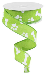 "1.5""X100Ft Paw Print/Bones On Royal Lime Green/White RGA3150E9 - DecoExchange"